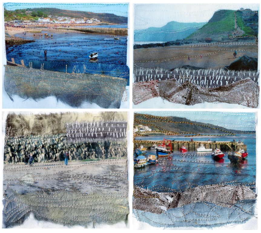 These were some little stitch collages done for the Open Studio week last October.  All are local landscapes from Lyme Regis and the top right image from West Bay (of BBC Broadchurch fame)