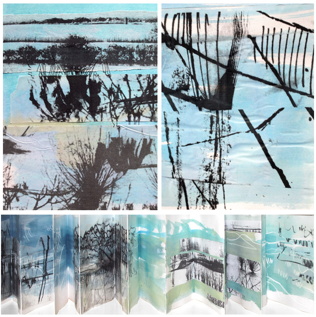 A Seawhite accordian style sketchbook full of Somerset Flooded levels inspiration and marks.  Many of these pages have already been developed into new work.