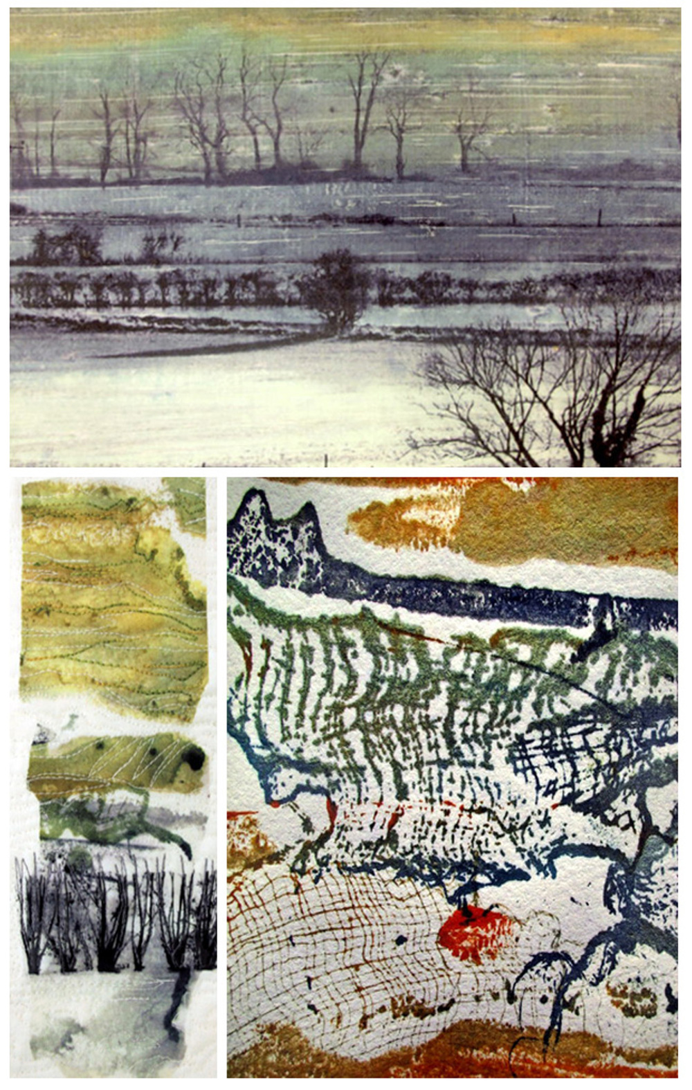 And for Day 5 my latest Facebook contribution which is more of the Somerset inspiration - collograph prints that have been developed already with more to come. Thanks for reading and please comment if you would like.   my other ArtSpace blog     www.sandrameech-art.blogspot.com  will cover some similar information but the real focus for news will gradually come over to this site. Watch this space.