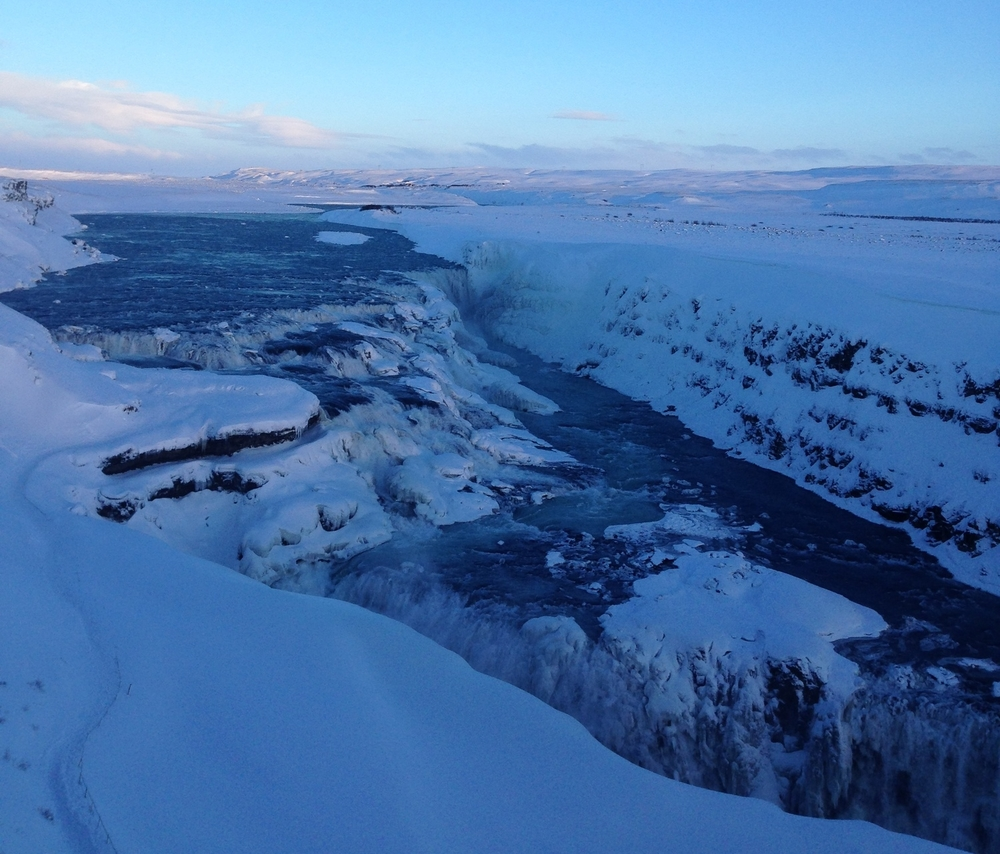 This is  Gullfoss , the largest waterfall complex in Europe.