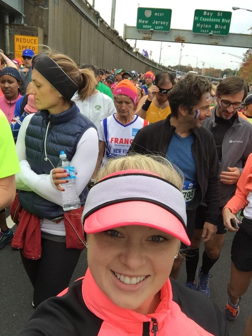 At the start line all bundled up!