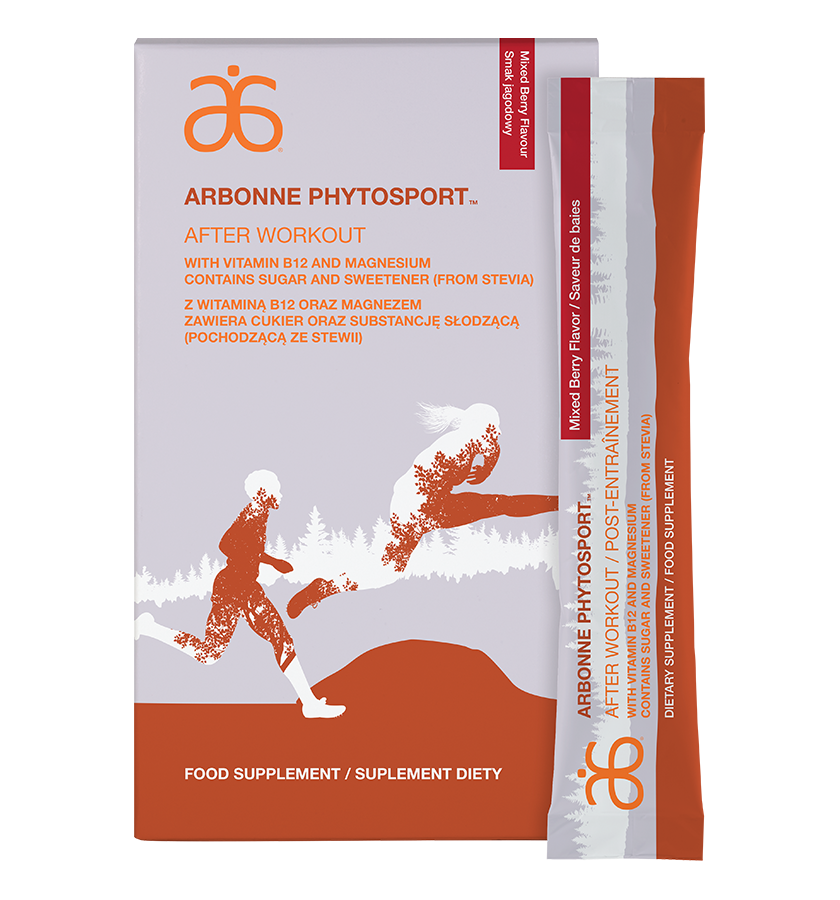 Arbonne PhytoSport After Workout (#6100 )   Exercise can be tough. Without a healthy recovery, it can be difficult to bounce back. An ideal (2:1:1) ratio of branched-chain amino acids helps alleviate exercise induced muscle soreness to support recovery.◊ A unique antioxidant from pomegranate helps combat free radicals created during workouts, and carbohydrates help support energy recovery.◊ Add to water, or to the Arbonne Essentials Protein Shake Mix to make a nutrient-rich recovery shake for additional muscle support and repair