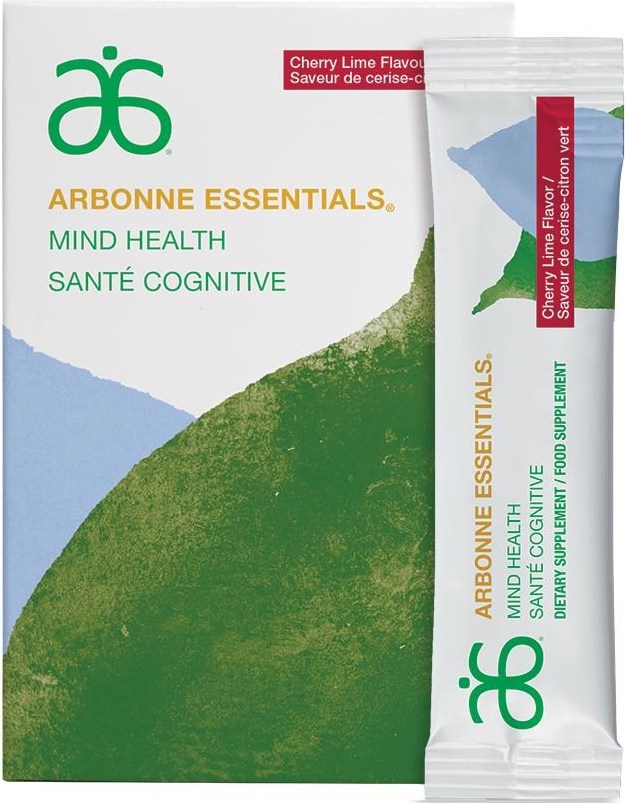 Arbonne Essentials Mind Health (#6102)    Multitask to the max. Sunflower seed derived phosphatidylserine, a key building block for brain cells, and vitamin B12 support neurological performance like concentration and focus. Use daily to help support brain health and cognitive performance including aspects like memory and learning. The delicious cherry lime flavoured formula has supportive ingredients like grape seed extract and CoQ10 to help maintain a healthy nervous system.