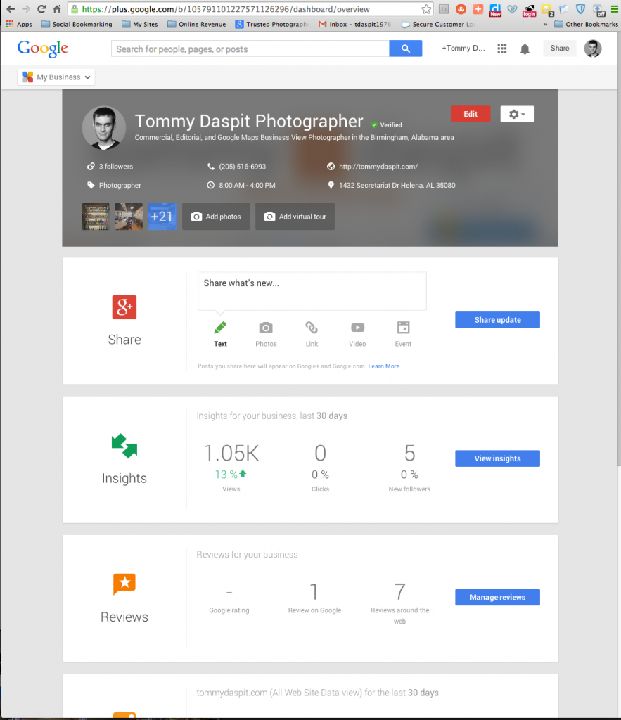 I screen captured the Google My Business dash board for my business page. From here you can create posts, see your analytics, understand more about your audience, manage your YouTube channel, See all of your reviews from across the web, and even start a hangout.