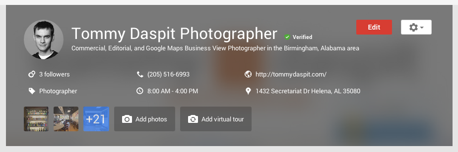 From here you can edit all of your businesses information. You can add photos, and most importantly, add a virtual tour!