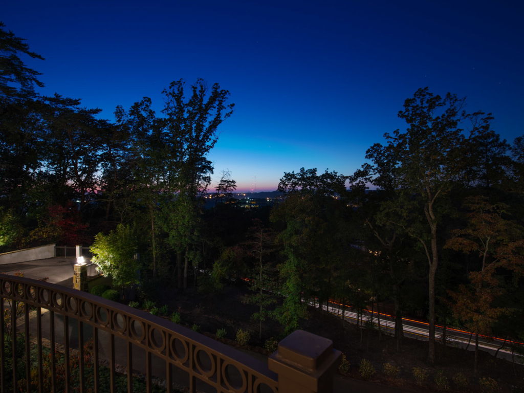 Lastly, this is the view from the front porch of the home. It overlooks the city of Birmingham with a great view. In the daytime the city in the distance would be washed out and not very appealing. The city lights against the deep blue sky really convey an altogether different feeling!