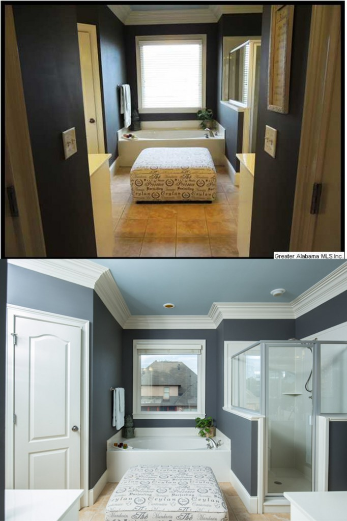 Agent photo top, my photo bottom - The master bath is one of the most important rooms in the house. Having it well photographed is a major plus in grabbing the attention of shoppers.