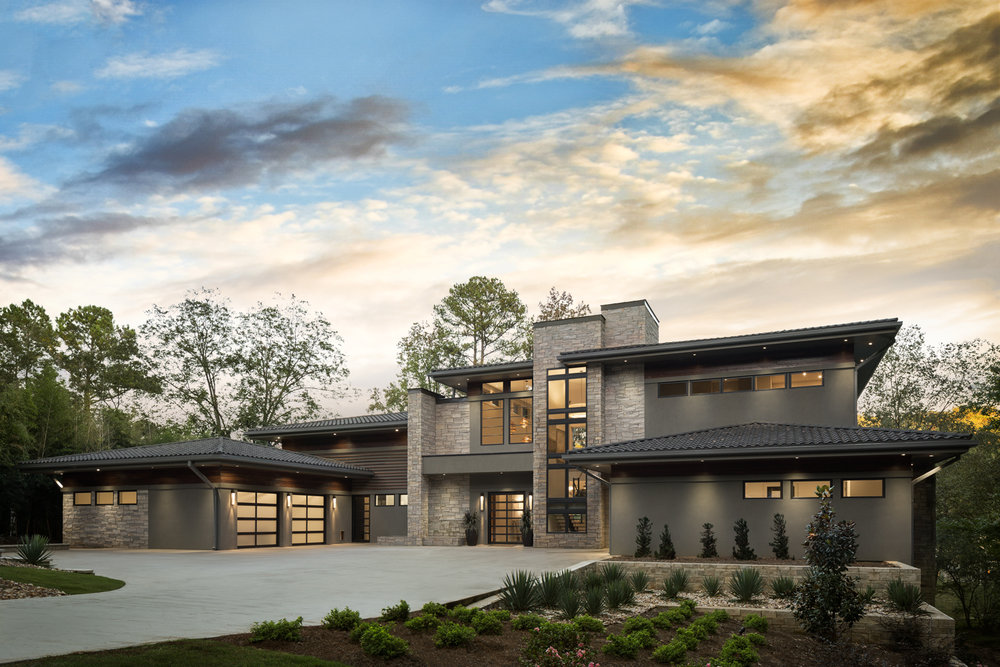 Pine Grove - Modern luxury home in Muscle Shoals Alabama for builder Alexander Modern Homes, architect Phil Kean, and Riverworks Design Studio