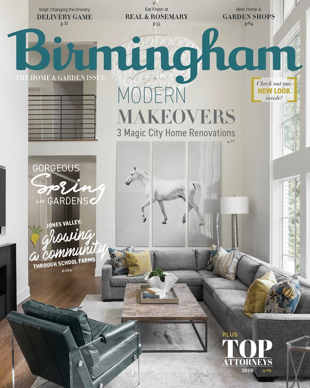 Cover of newly redesigned Birmingham Magazine. The Home & Garden Issue for 2018. Project photographed for Adams & Gerndt Design Studio.