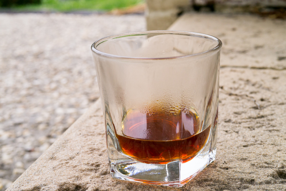 Coffee in a whiskey tumbler, enjoyed outside in the crisp Melbourne air.