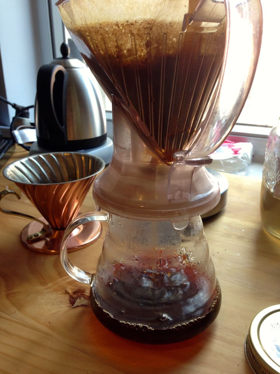 A Clever coffee dripper and a V60 in the background