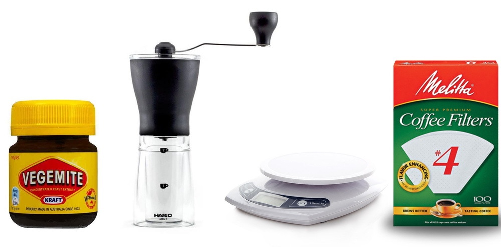 What you will need: A jar, a grinder, scales, and coffee filters.