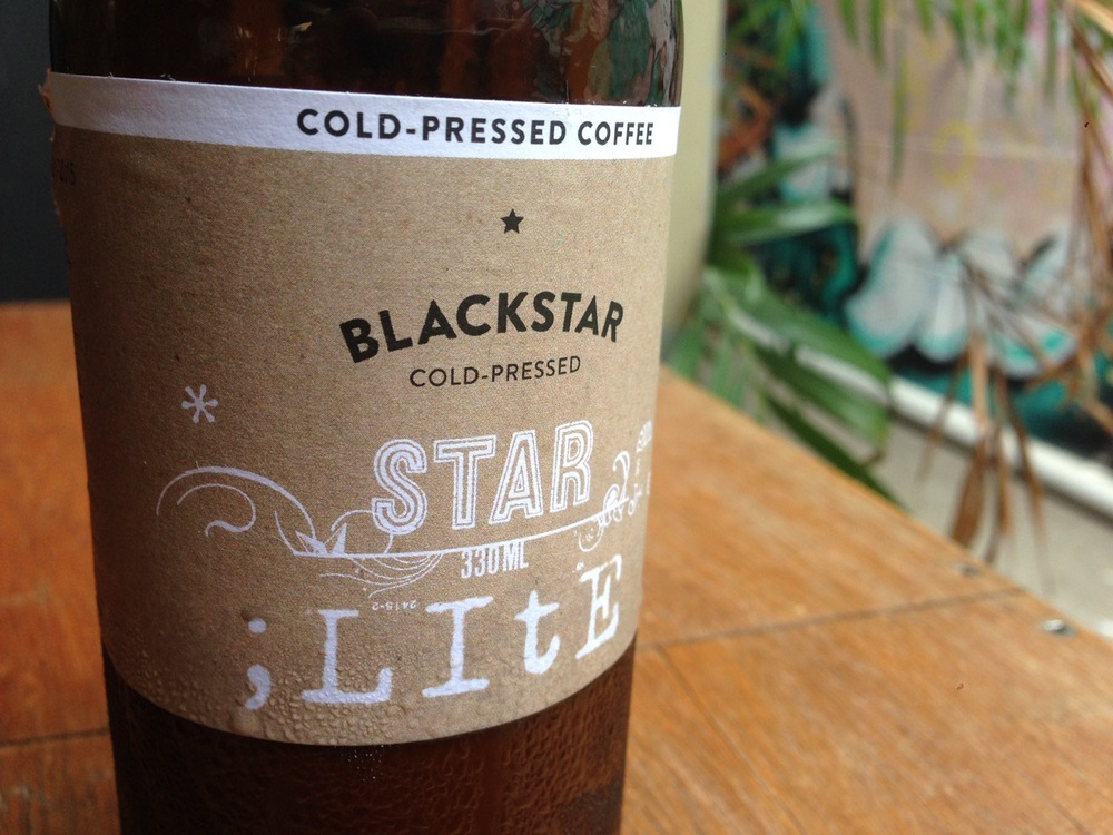 The cold brew. Great labelling! Wonder what 'cold pressed' means. Traditionally, it means 'we put it all in a bucket and gave it a swirl'.