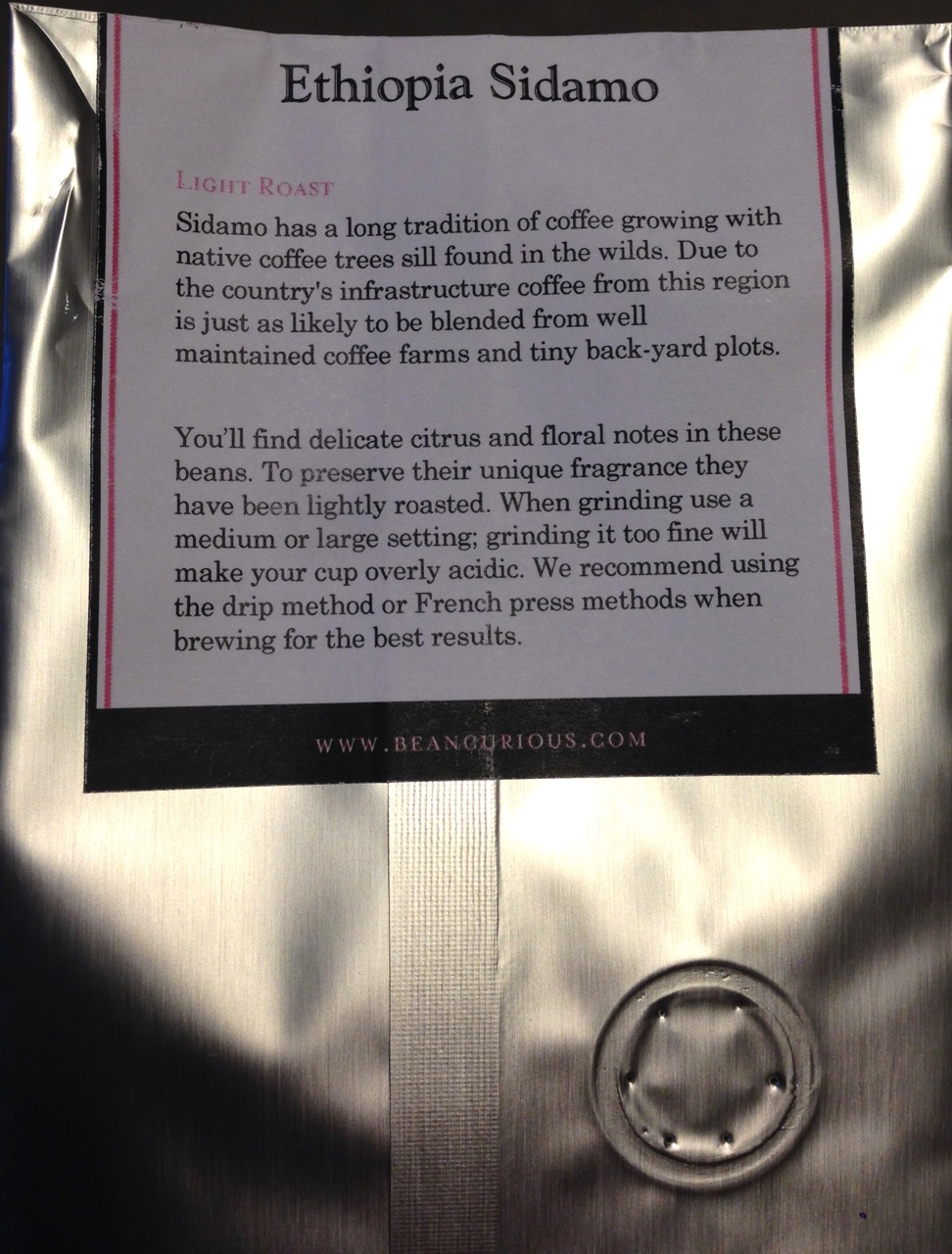 Sidamo back label. A quality bag, good description and even nice lettering.