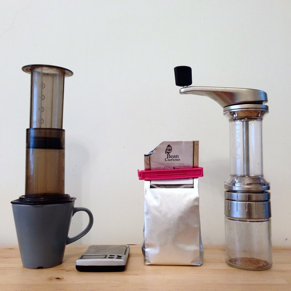 Step 1: Get your coffee equipment together. I like to make regular hot coffee using an Aeropress these days. Normal hygiene: fresh beans, a decent grinder (burr, not blade), control your weights, temperatures and brew times and optimise for your preferred flavour.