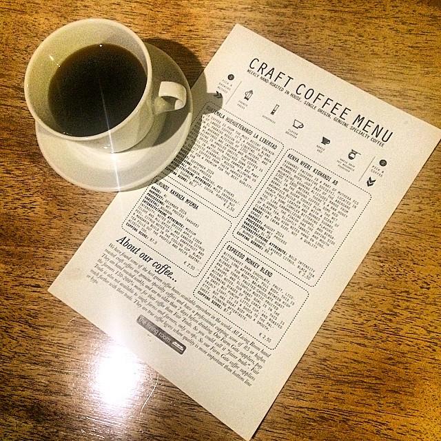 Craft coffee menu
