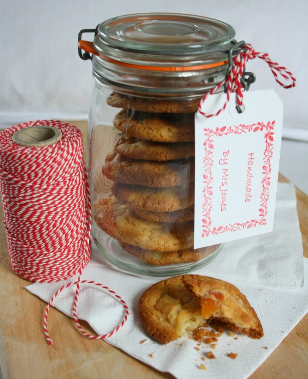 Apricot, ginger and white chocolate cookies in a jar