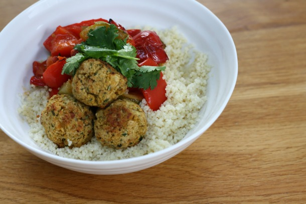 Homemade falafel with cous cous and roasted veg