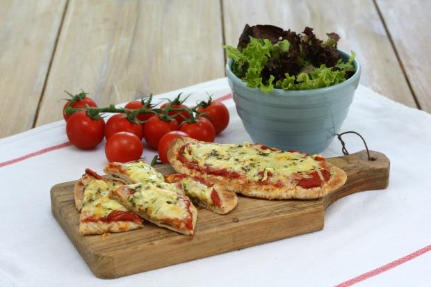Pitta pizzas with hidden veg sauce