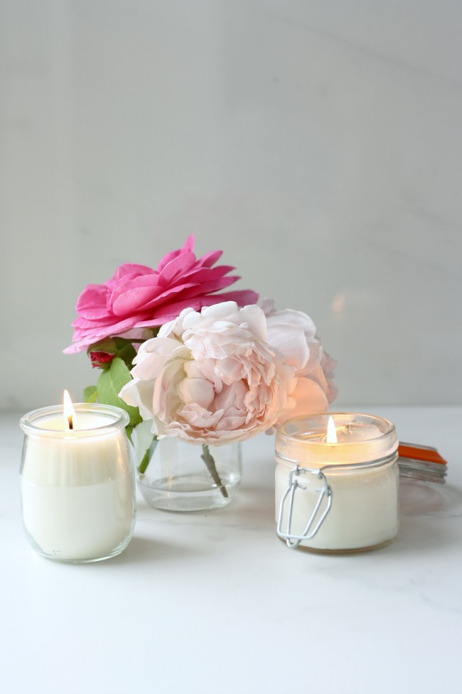 Rose geranium scented candles
