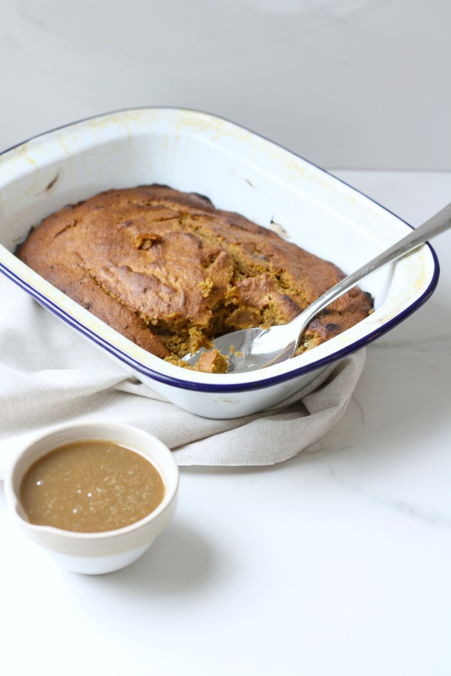 Pumpkin sticky toffee pudding with salted caramel sauce