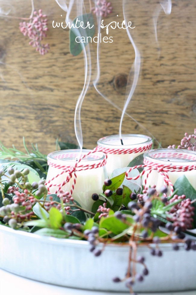 Winter spice candles
