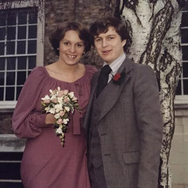 My parents have been married for 41 years today - and they still look this happy. I love my mum's dress and I once tried it on, but it didn't fit me at all. I hope I'm still this happily married in 40 years time.