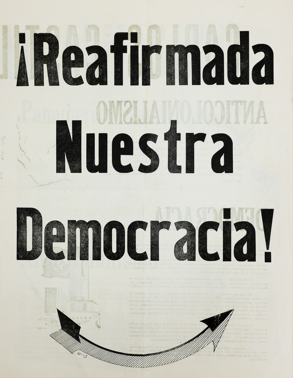 ¡Reafimada nuestra democracia! , Newsprint Broadside, 1 954