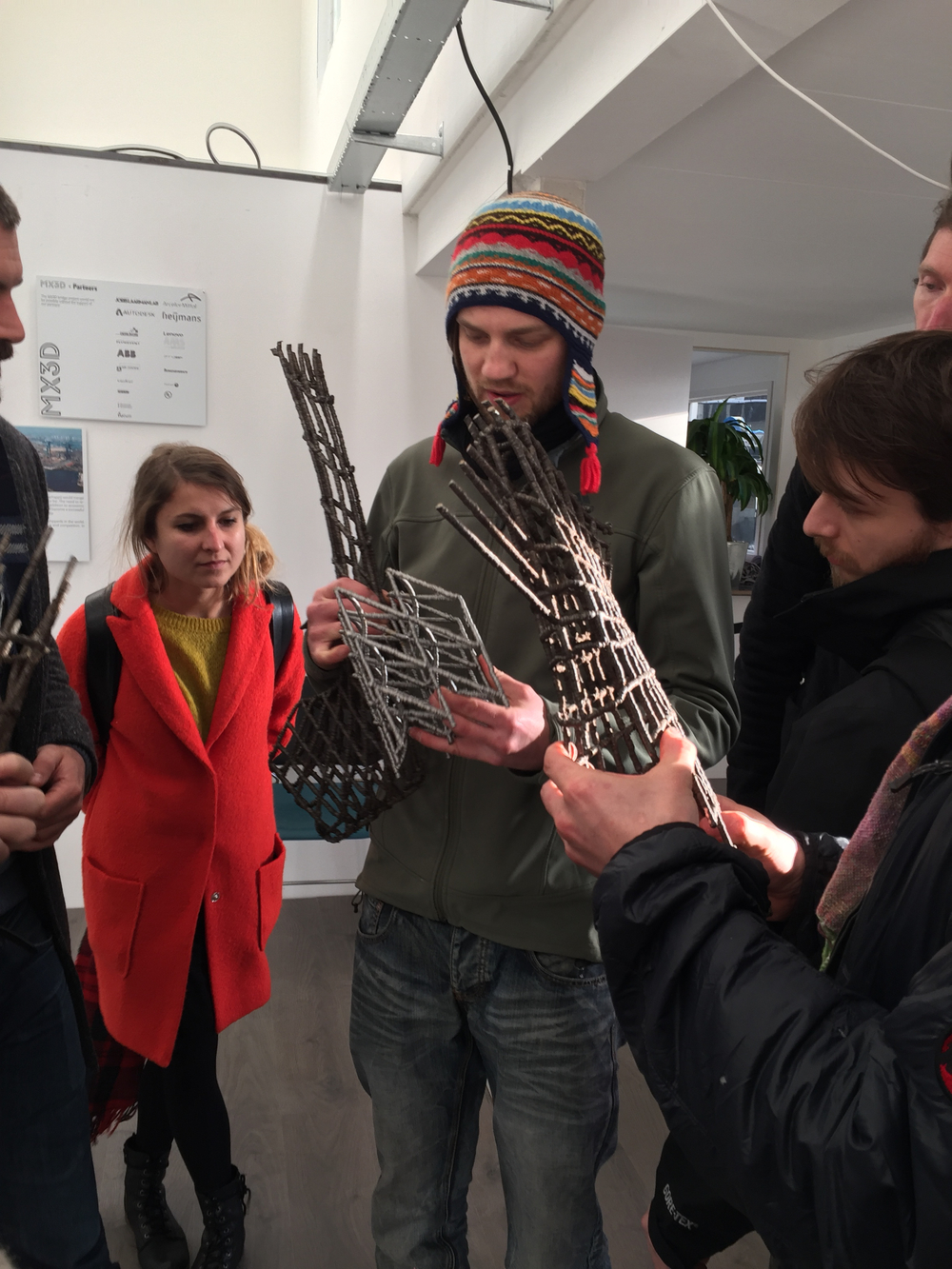 Admiring a 3D printed bicycle frame and other test structures with a contagiously enthusiastic engineer at MX3D.