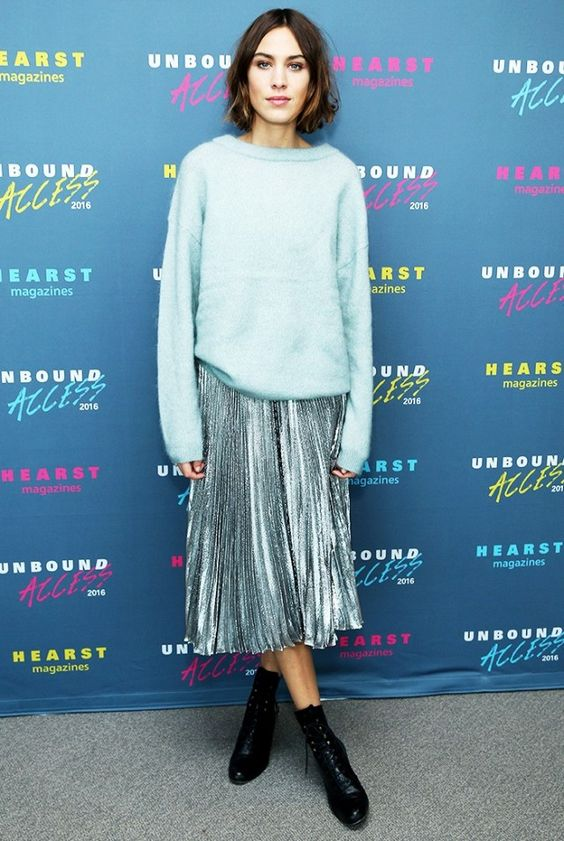 Metallic pleated skirt on Alexa Chung