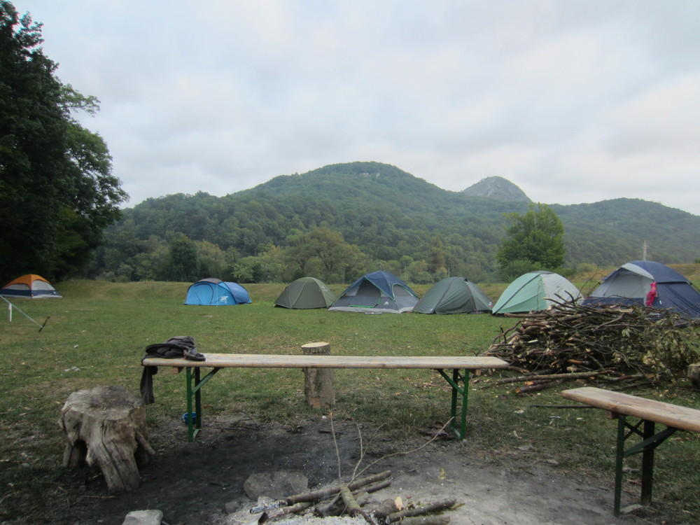 Our camp in the valley below the Dacian acropolis.