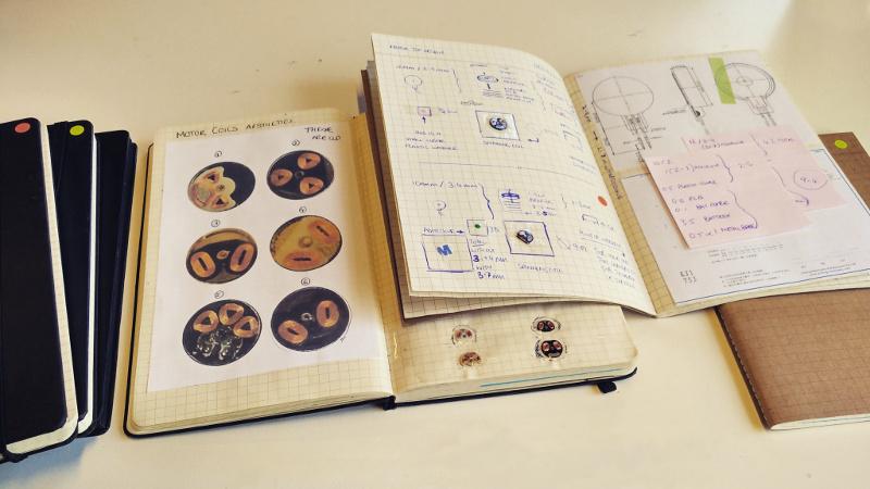 Designs in a sketchbook