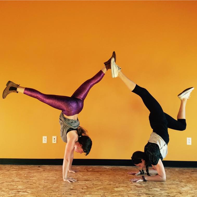 Sarah Diedrick handstand inversion, Sarah Diedrick Sangha Studio Burlington Vermont, Caitlin Pascucci Sangha Studio