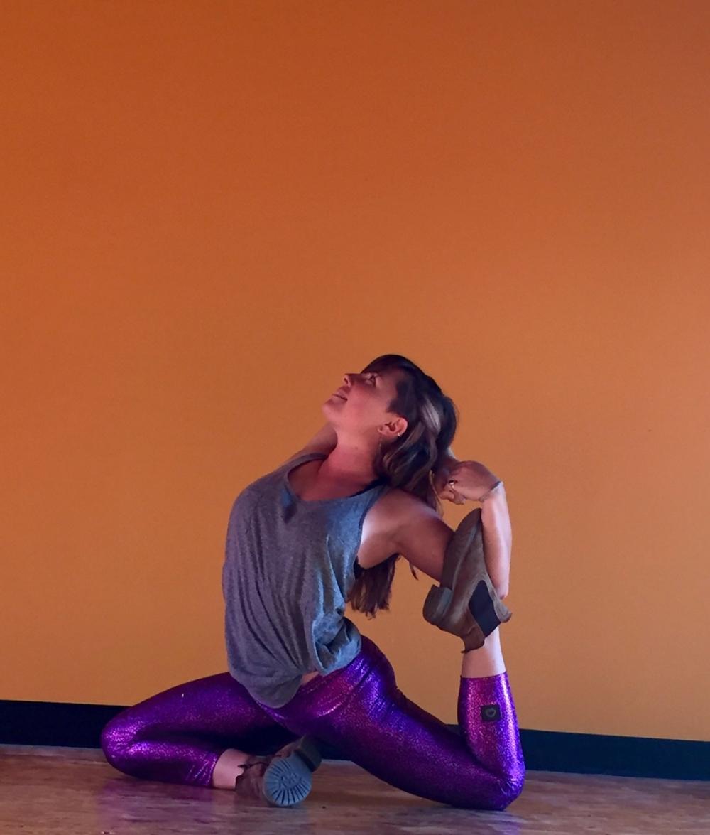 Sarah Diedrick mermaid yoga pose, Sarah Diedrick Sangha Studio Burlington Vermont