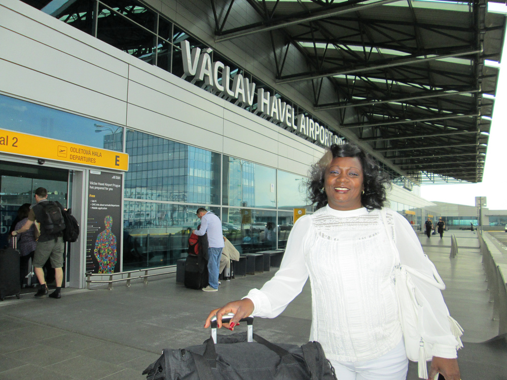 Ladies in White leader Berta Soler (pictured here at Prague's Václav Havel Airport) was detained by Cuban authorities and only released just before she was scheduled to meet with Barack Obama during his visit to Havana. (photo: People In Need Cuba)