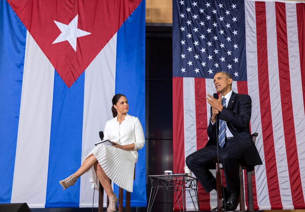 Barack Obama and Soledad O'Brien during a Q&A session on entrepreneurship in Havana (Photo: IIP Photo Archive)