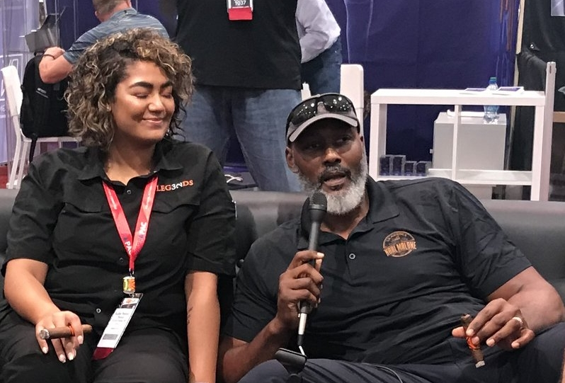 Karl Malone talks about his new cigar —Barrel-Aged by Karl Malone —with his daughter Kadee, who is co-owner of Legends Cigar and Vape in Ruston, Louisiana.