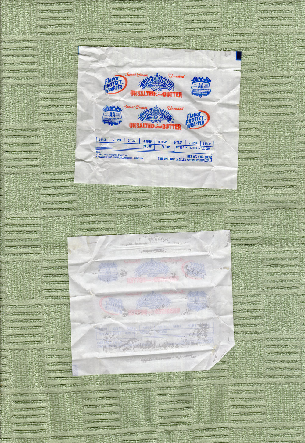 Butter Wrappers on Green Dish Towel