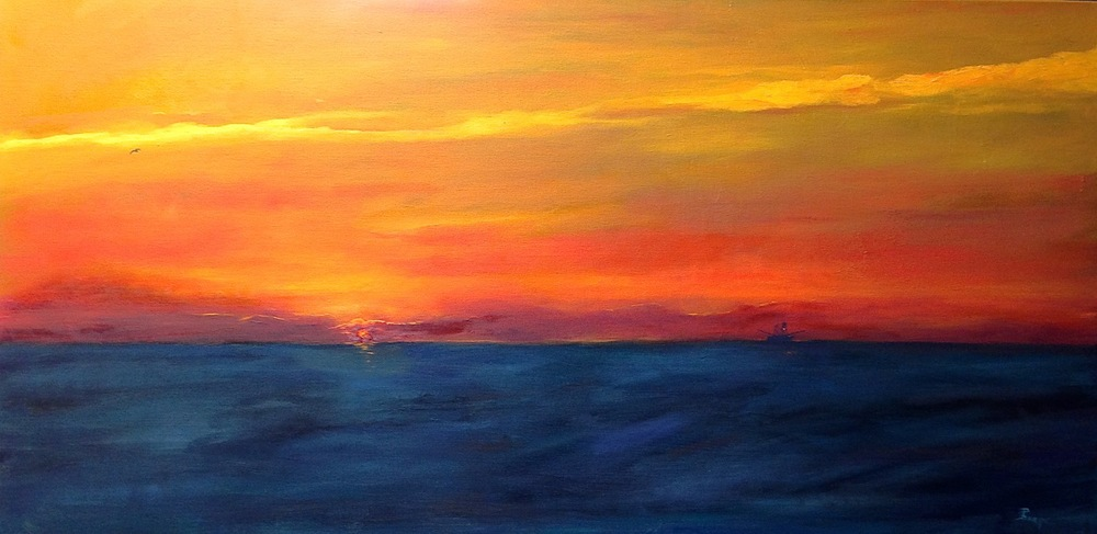 "'Dawning of a New Day"" is my completed, signed painting."