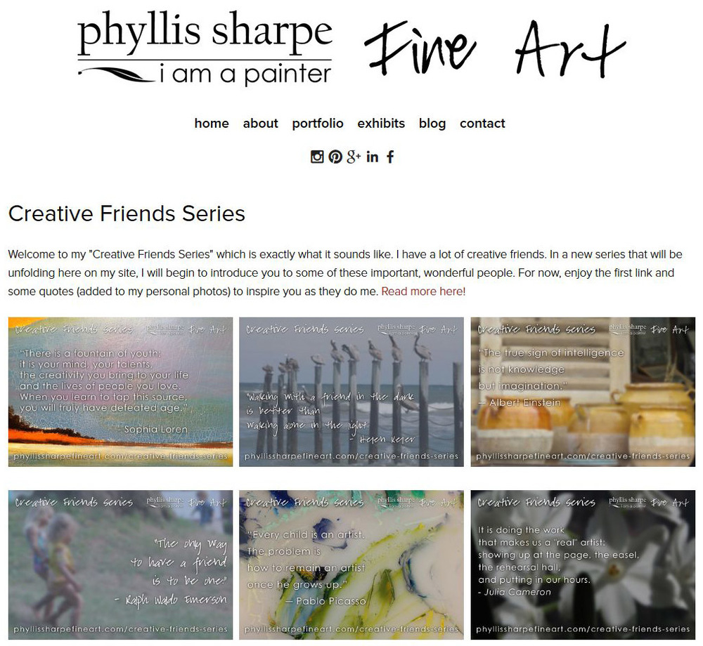Fine Artist Phyllis Sharpe announces new Creative Friends Series; Click to visit official series page.