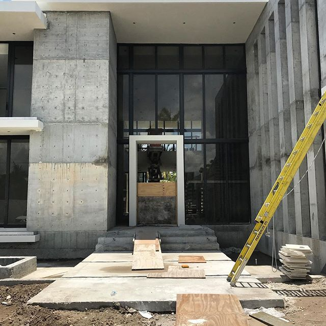 "Coming soon...12 foot x 6 foot x 4"" solid wood American Walnut door with  with blackened steel details. Architecture by Choeff Levy Fischman. Design by Lucila Anderson. Construction by Alfredo Borges. Front door by #byblosgroup"