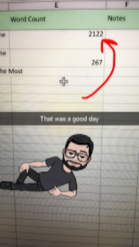 I post my wordcounts on Snapchat at user killsuperhero