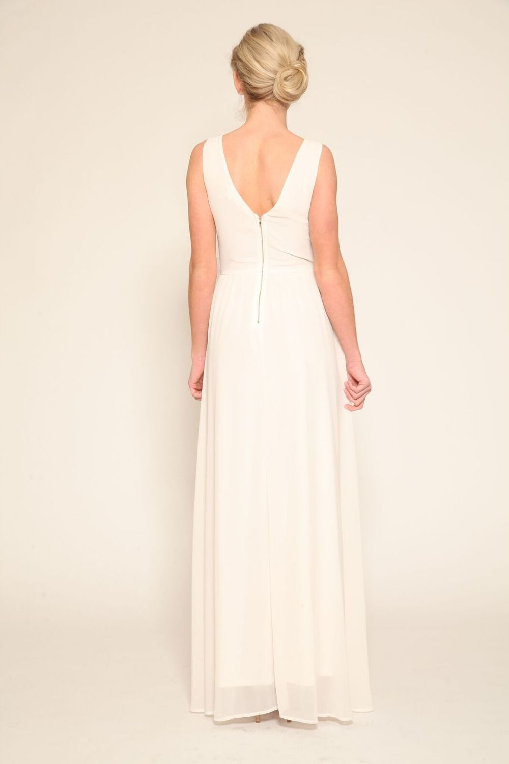 Ivory Chiffon Gown With Gold Beading Detail $89