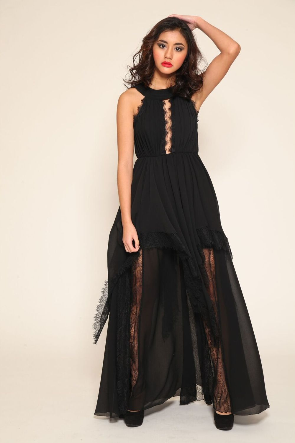 Black Lace Detail Maxi $300
