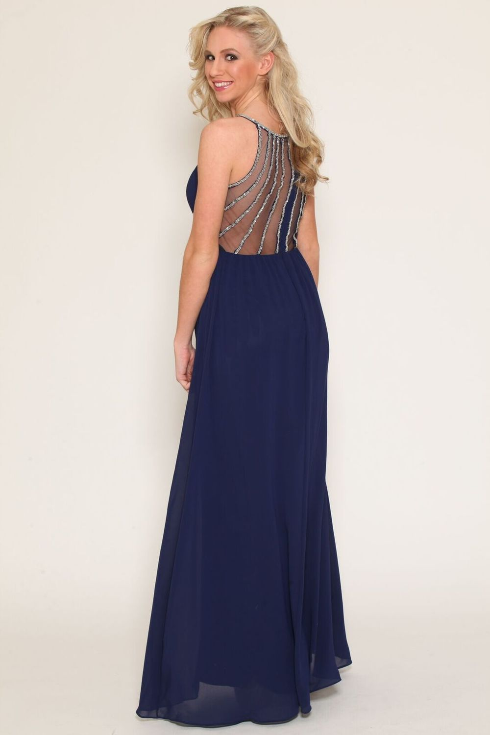 Mesh Back Detail Embellished Navy Gown $98