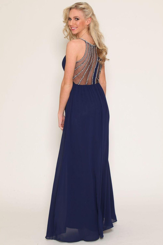 Mesh Back Detail Embellished Navy Gown $98