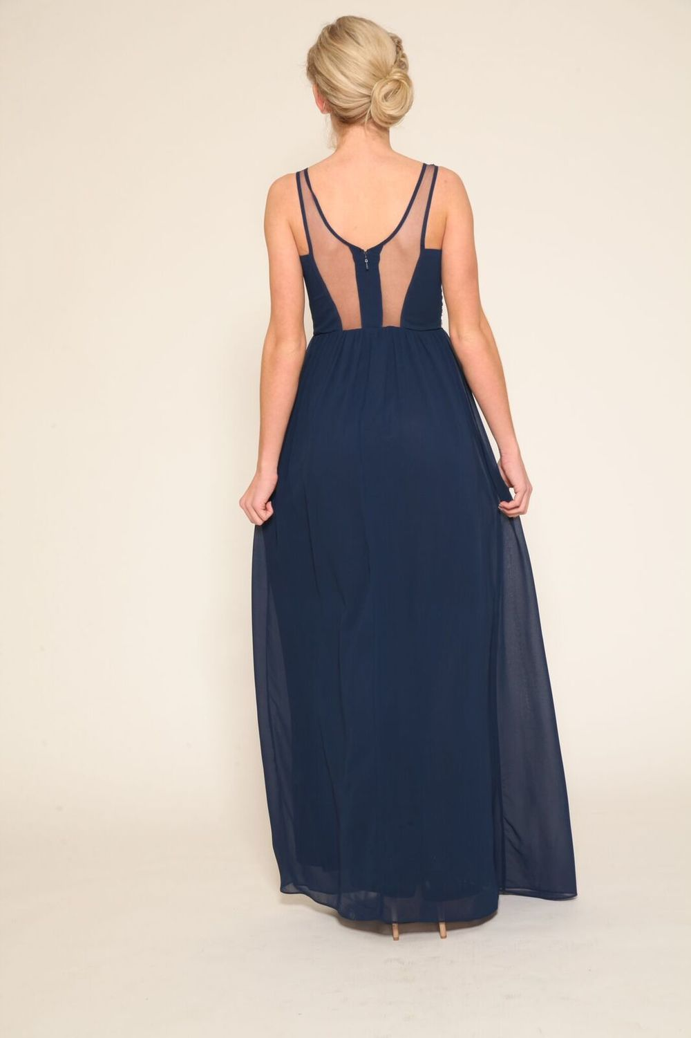 Chiffon Gown With Beaded Front and Mesh Open Back Detail $98