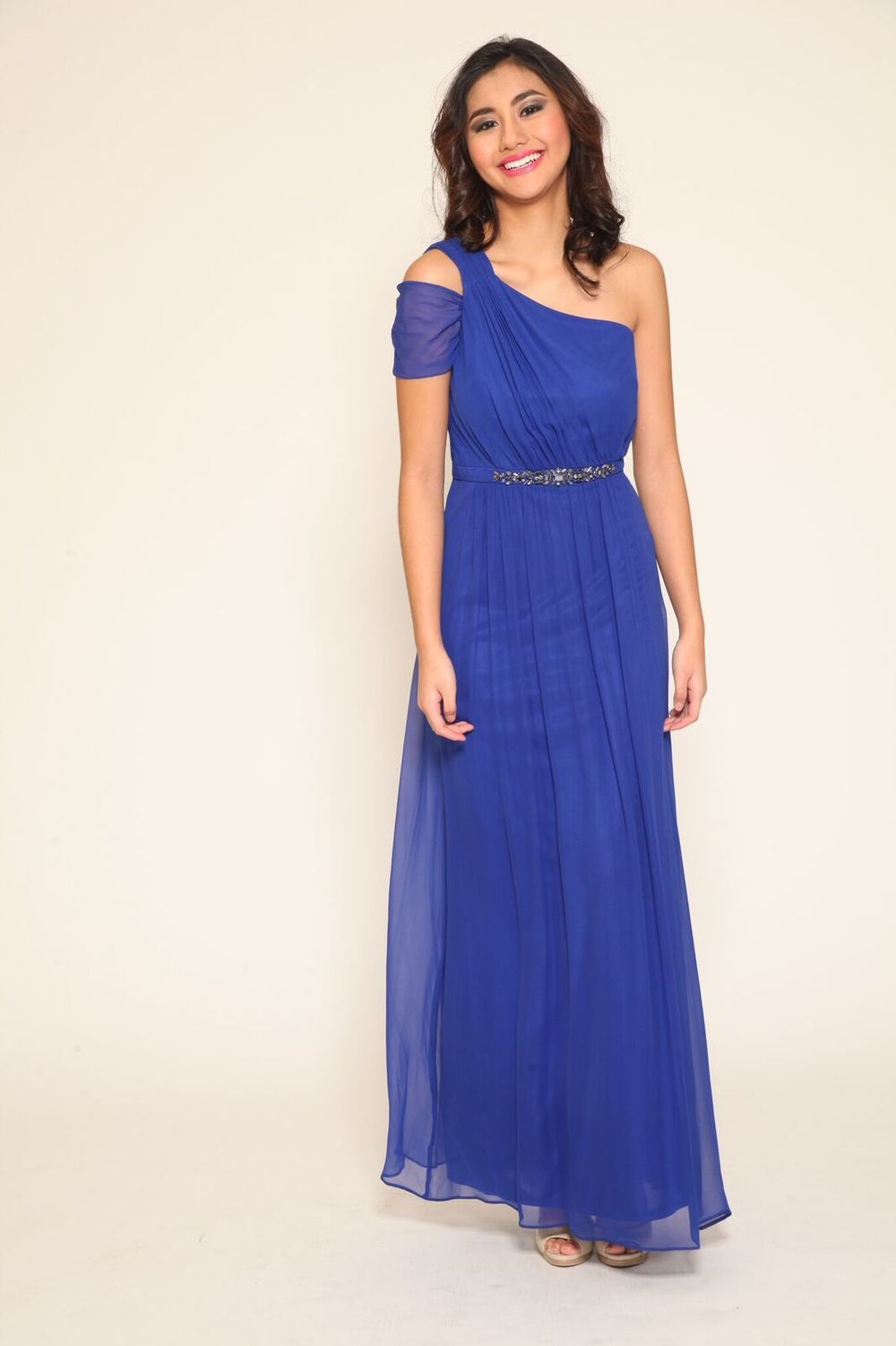 One Shoulder Chiffon Gown in French Blue $276.50
