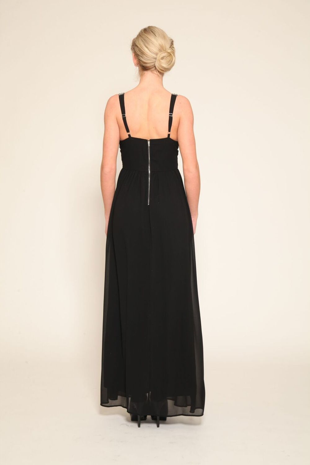 Pleated Skirt Black Gown $325