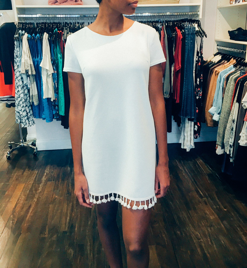 She and Sky White Tassle Dress $49